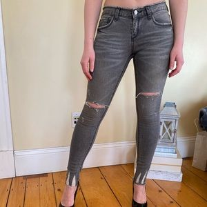 Denim - Distressed gray skinny jeans